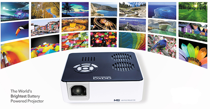 Aaxa m5 pico led hd projector 900 lumens battery powered for Worlds smallest hd projector