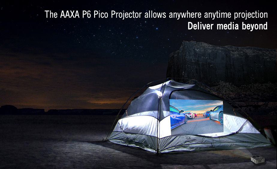 The AAXA P6 Pico Projector allows anywhere anytime projection.  Deliver media beyond!