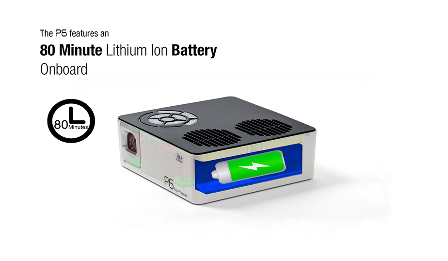 The P6 featured an 80 minute lithium-ion battery onboard, for anytime, anywhere entertainment.
