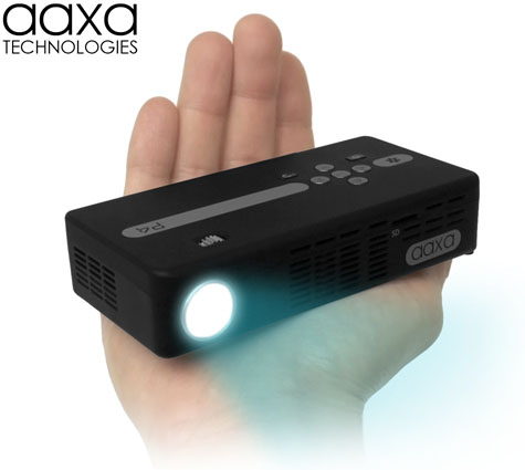 Aaxa p4 x pico projector dlp hand held mini projector for Which mini projector